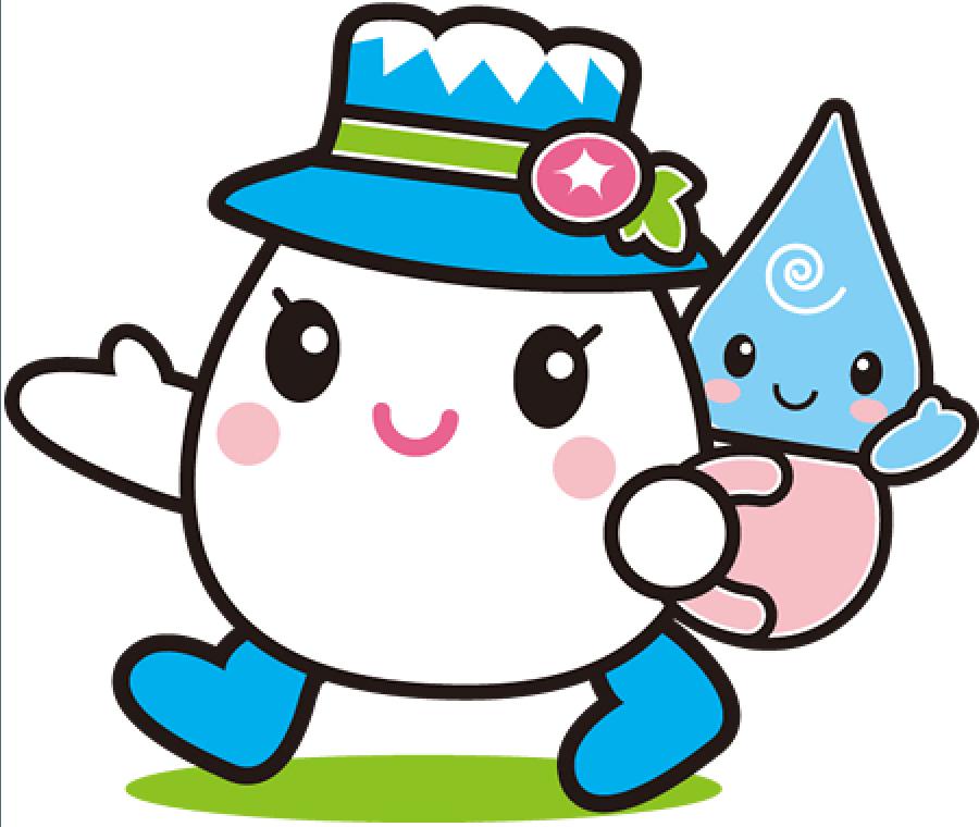 白山手取川ジオパークキャラクターゆきママとしずくちゃん